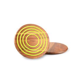 澳大利亚【Gourmet Kitchen】镌刻时光圆形硅胶相思木锅垫2件套