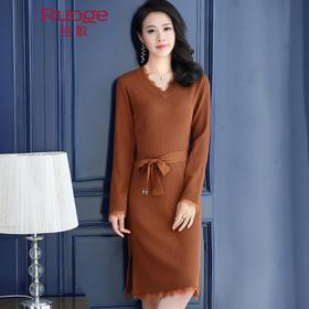 性感时尚针织蕾丝边系带连衣裙 PY5817
