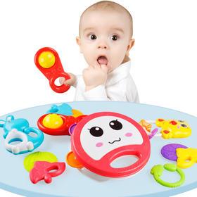 婴儿手摇铃益智萌趣摇铃8件套安抚玩具