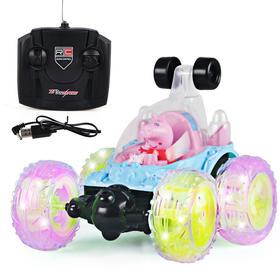 小猪遥控翻斗车特技翻滚车越野车充电动遥控汽车粉红佩佩奇猪玩