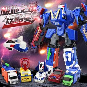 变形玩具 合体机器人六合一变形双面金刚汽车人儿童益智拼装玩具