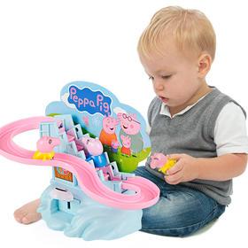 小佩猪手动轨道车迷你滑梯拼装爬楼梯儿童益智组装玩具