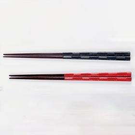 【刷毛市松】日本越前漆器 夫妻对筷