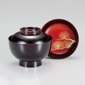【沉金日出松】日本越前漆器 溜涂正月汤碗