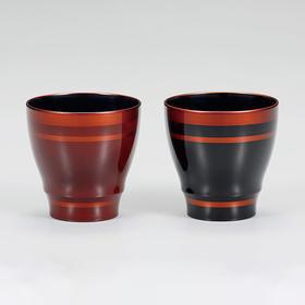 【间纹白檀杯】日本越前漆器 夫妻对杯
