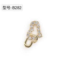 【美甲金属饰品】B282金色超闪锆石小碎钻组合丘比特双心组合金底弧面弧度