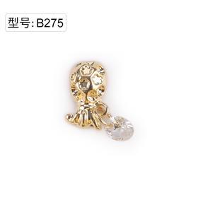 【美甲金属饰品】B275金色菠萝钱袋白色超闪锆石吊坠金底弧面弧度