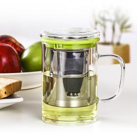 玻璃茶杯带把带盖不锈钢内胆过滤办公水杯耐热玻璃杯泡茶杯