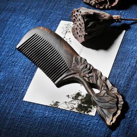 周广胜天然沉贵宝手工梳子整木雕花细齿头梳随身便携梳长发梳礼品