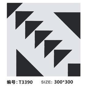 北欧黑白线条瓷砖 300x300
