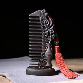 周广胜天然精品手工梳子整木雕花细齿头梳随身便携梳长发梳礼品