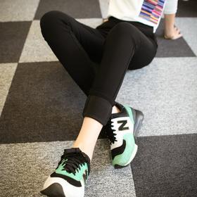 D3nf打底裤秋女士裤子加绒加厚冬2017新款外穿高腰弹力黑色大码2816【魅影】