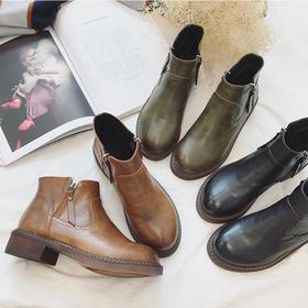 D3韩版低跟及踝靴子女秋冬加绒圆头百搭复古拉链马丁靴短筒粗跟短靴【魅影】