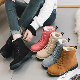 副本D3冬季加绒加厚新款雪地靴女平跟保暖棉鞋韩版学生短筒系带马丁靴子【魅影】