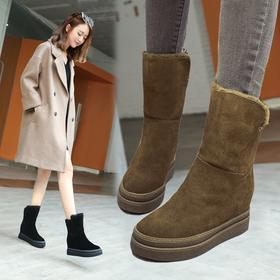 副本D3天天特价冬季厚底雪地靴女马丁靴内增高棉鞋保暖加绒短靴中筒靴子【魅影】
