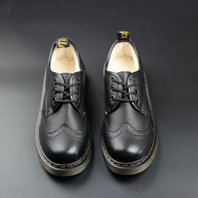 D3英伦风复古加绒布洛克小皮鞋女冬季新款学院圆头系带雕花学生女鞋【魅影】