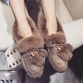 D3韩版百搭流苏兔毛外穿毛毛鞋豆豆鞋2017冬季新款平跟加绒棉鞋女鞋【魅影】