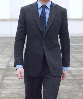 男士藏青蓝/浅褐色假三扣粗呢粗纺上衣