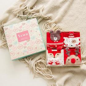 【圣诞礼物】2017新款  SSWH韩版可爱绣花圣诞袜礼盒  暖暖的幸福  秋冬款四双礼盒装