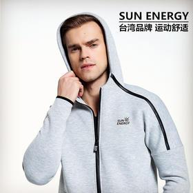 SUN ENERGY 连帽休闲运动外套 微弹修身版型柔软又亲肤 黑/灰/白