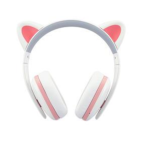 声氏Moecen萌系礼品蓝牙耳机适配IPHONE77PLUS简约 猫耳粉白包邮
