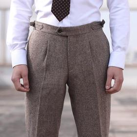 男士藏青蓝/浅褐色假三扣粗呢粗纺西裤