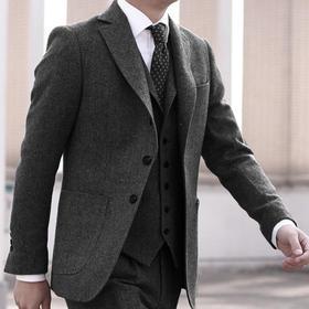 男士深灰/浅灰棕假三扣Dugdale Bros & Co粗呢粗纺上衣