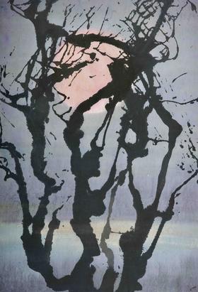 大班新水墨抽象系列作品  / 《黎明》/67x45cm