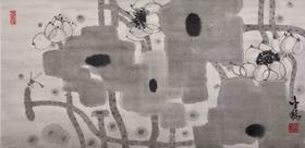 大班新水墨荷花系列作品  / 《抽象荷花系列2 》/97x48cm