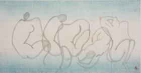 大班新水墨人体系列作品  / 《巨匠线条之抽象1 》/180x90cm