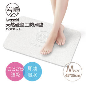 日本岩崎硅藻泥脚垫硅藻土吸水地垫速干防滑垫踩浴室淋浴房地毯垫