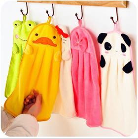 韩国卡通可爱珊瑚绒擦手巾厨房挂式超强加厚吸水擦手布毛巾两条装
