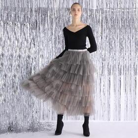 SYUSYUHAN设计师品牌 唯美梦幻超大摆蓬松压褶透视多层纱裙公主裙