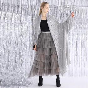SYUSYUHAN设计师品牌 微透马海毛超重手工奢华闪银亮片重磅长开衫