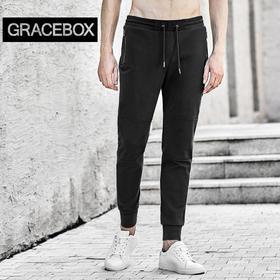 Gracebox FRIAR 修道士针织拼接休闲裤 帅气舒适有型 黑/浅灰