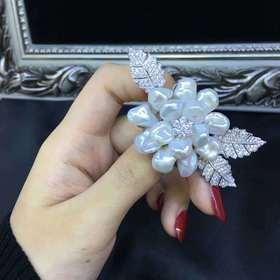 后庭花925银镶珍珠系列胸针
