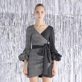 SYUSYUHAN设计师 高端进口弹力格纹面料双色拼独特气质绑带连衣裙