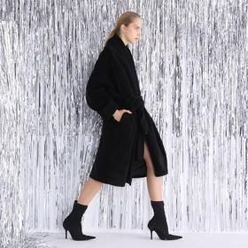 SYUSYUHAN设计师品牌 oversize加厚毛绒浴袍风随性绑带廓形大衣