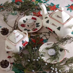 外贸 高温陶瓷 圣诞主题 清新卡哇伊风 茶壶糖罐小蝶餐进口5件套 轰趴 下午茶 满包邮