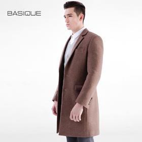 元本BASIQUE 修身羊毛呢大衣男士冬英伦商务中长款呢子外套 咖色