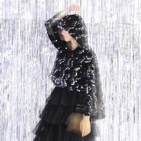 SYUSYUHAN设计师品牌 马海毛透肤感超重手工闪银亮片女巫帽套头衫