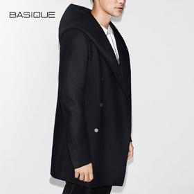 元本BASIQUE造型感连帽毛呢大衣 男士秋冬英伦修身商务中长款外套