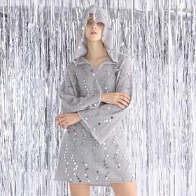 SYUSYUHAN设计师品牌 微透马海毛超重手工闪银亮片女巫帽套头长衫