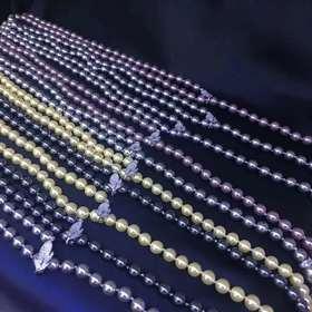 一叶知秋925银镶锆款珍珠项链