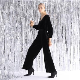 SYUSYUHAN设计师品牌 气质弹力丝绒蝙蝠袖大脚礼服感腰带连体长裤
