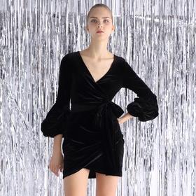 SYUSYUHAN设计师 黑色弹力丝绒V领手工花苞袖裹身绑带显瘦连衣裙