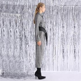 SYUSYUHAN设计师 高端进口弹力格纹面料双色拼独特帅气工装连体裤