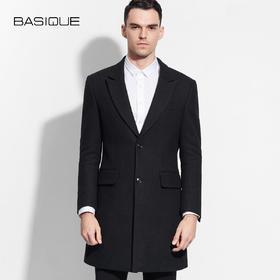 BASIQUE/元本加厚毛呢羽绒服男中长款冬装外套欧美冬修身款