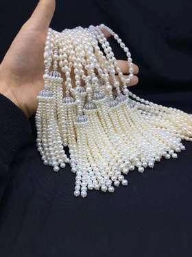 小小的爱神925银镶锆长款流苏珍珠项链