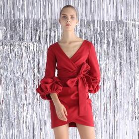 SYUSYUHAN设计师 高端进口面料挺阔造型感手工花苞袖连衣裙过年红